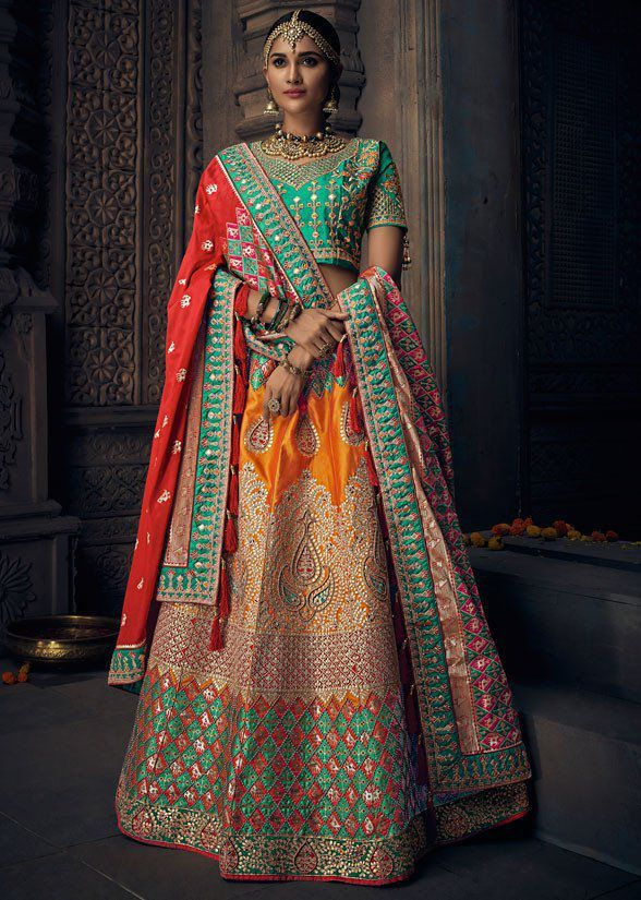 c861e9b76 Buy Yellow and green banarasi silk Indian wedding lehenga in UK