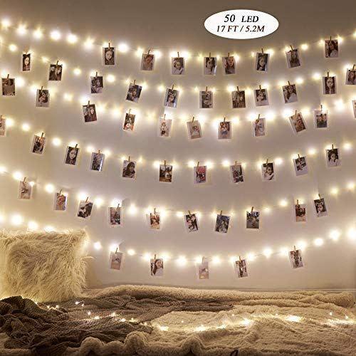 Lot de 50 guirlandes lumineuses 5 m / 5 m / 50 clips de fixation sur batterie/éclairage d'ambiance/clip guirlande lumineuse pour salon, bar, café, Noël, mariage, fête, fête