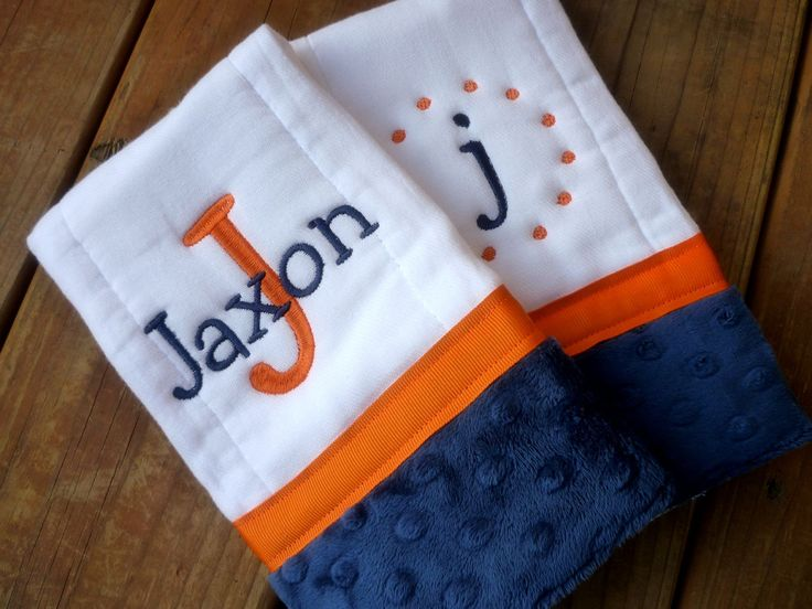burp cloths set of two prefold diaper royal blue and orange denver broncos colors - Denver Bronco Colors