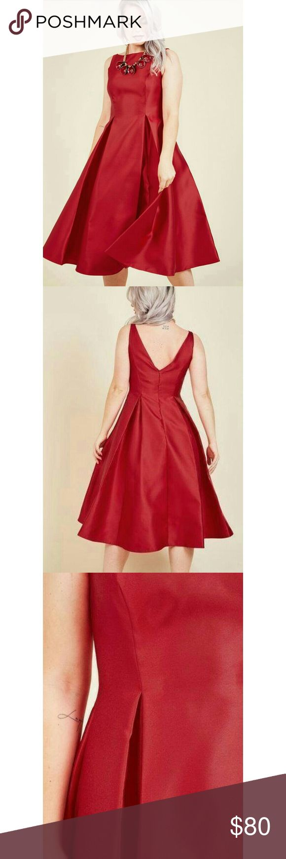 ModCloth: Careful What You Lavish For Midi Dress Days spent longing for a truly luxurious dress end with the arrival of this pleated fit and flare by Adrianna Papell! A sophisticated bateau neckline pairs flawlessly with the sleek princess seams, defined pleats, and rich red sheen of this pocketed midi, creating a look so dreamy, you may need a pinch! Adrianna Papell Dresses Midi