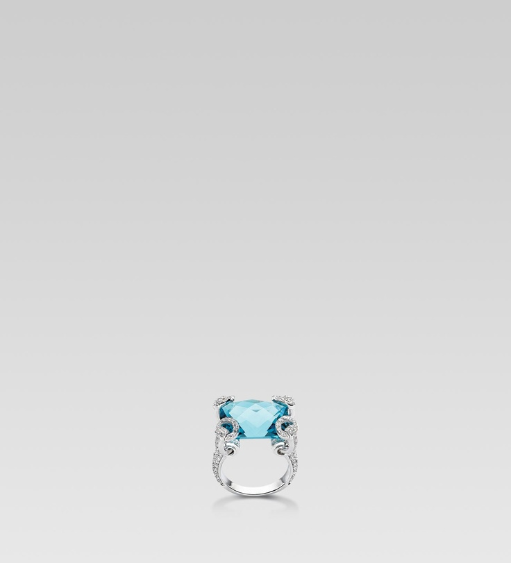 Gucci Horsebit Cocktail Ring. 18kt white gold, diamonds, and blue topaz.