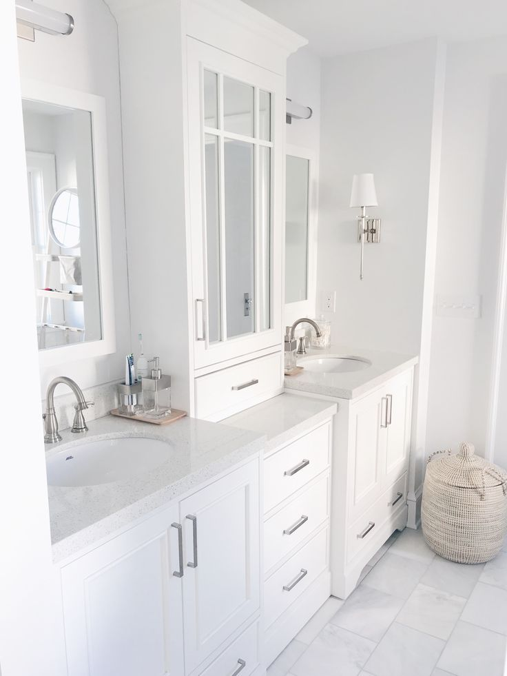 White Vanity With Tower Custom Look For Less White Master Bathroom Master Bathroom Vanity Bathroom Remodel Master