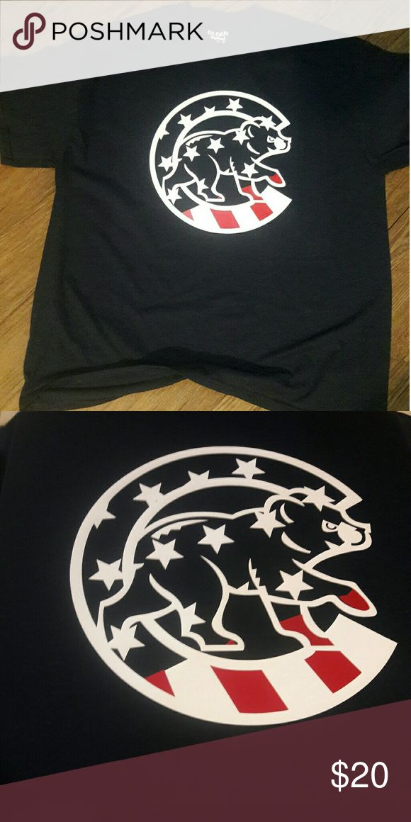 Custom cubs t shirt Cubs bear with white stars and red stripes. Custom made Navy blue t shirt 50%cotton 50%polyester New without tags Gildan Shirts Tees - Short Sleeve