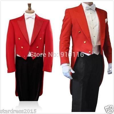2016-Red-Tailcoat-Groom-Jacket-Pant-BowTie-Men-Wedding-Tuxedo-Formal-Prom-Suit