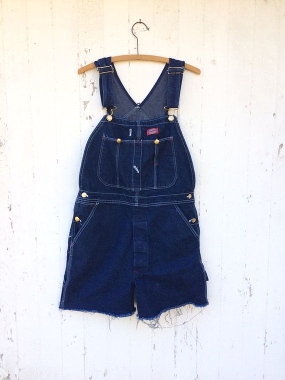 90s Dickies Denim Overalls Shorts Sz S M Dark Wash by HuntedFinds