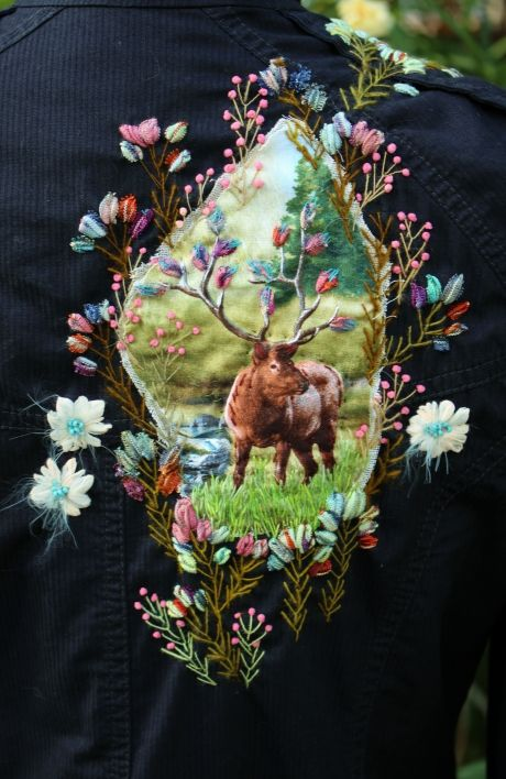 Stitching on back of fitted jacket