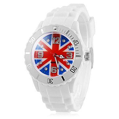 Patrón de la bandera del Reino Unido blanca de los hombres banda de silicona de cuarzo reloj de pulsera de la Copa de Fútbol de regalos – USD $ 8.99