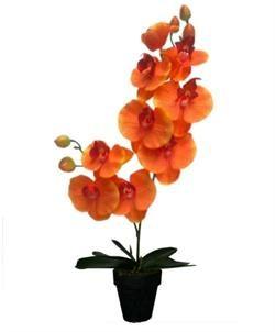 Kunstig Orkide 2 grenet 42 cm. Orange. Kun 98 kr.