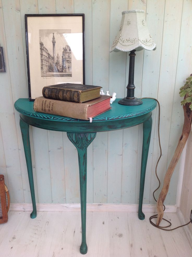Shabby Chic Half Moon Table painted using 'Florence' by Annie Sloan. Dark wax used on legs, clear wax used on the top of the table.