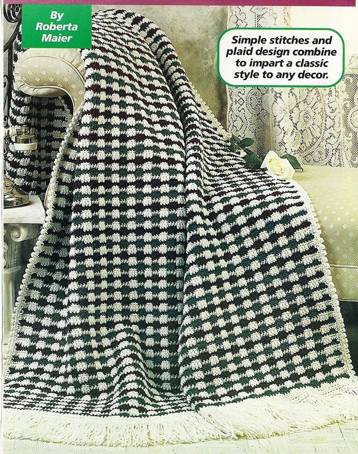 Victorian Plaid Afghan Crochet Pattern Blanket Throw Home Decor P