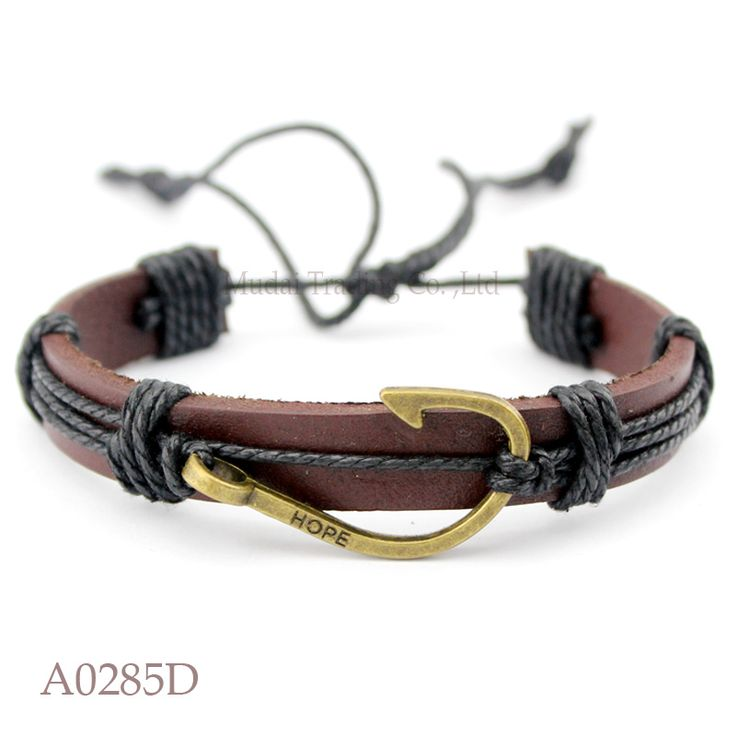 (10 pieces/lot) ANTIQUE BRASS Fishing Hook Fishhook Charm Adjustable Leather Cuff Bracelet Ocean Casual Friendship Jewelry Gift