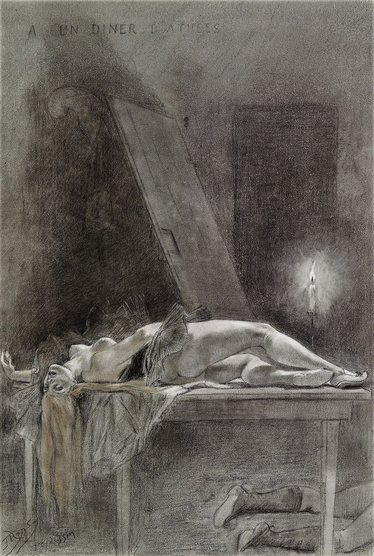 Félicien Rops drawing hiding in the morgue. This is a colored pencil and graphite illustration for Les Diaboliques by Jules Bargey d'Aurevilly, from 1882, entitled A Dinner of Atheists.