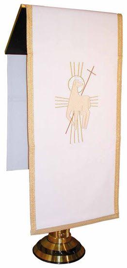 Paño de atril de poliéster en los cuatro colores litúrgicos - Bordado Cordero de Dios / Pulpit scarf in polyester. Lectern scarf decorated with an embroidered Agnus-Dei design in gold. Pulpit cover available in four liturgical colours  (2/2) http://www.articulosreligiososbrabander.es/pano-de-atril-de-poliester-en-los-cuatro-colores-liturgicos.html