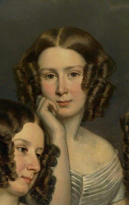 Les trois soeurs Robinson, 1846 George Théodore Berthon Détail