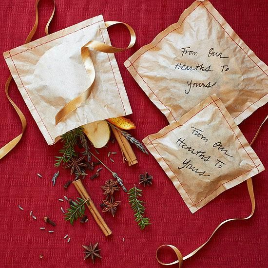Friends can toss a spice-and-herb sachet in the fireplace to release a sweet fragrance. #RRGiftGuide