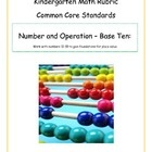 A kindergarten rubric or assessment tool for the Common Core State Standards in mathematics.  This rubric is for the Number and Operations - Base T...