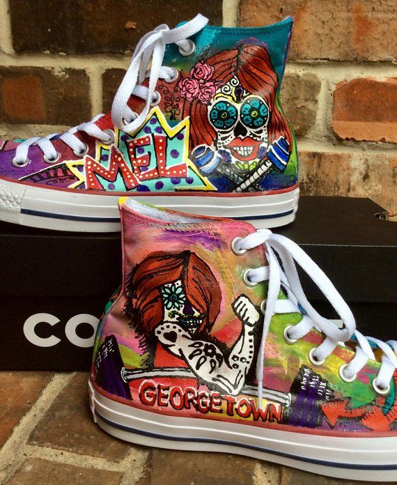 Custom Sneakers Painted Graffiti Skulls Converse High Tops for ...