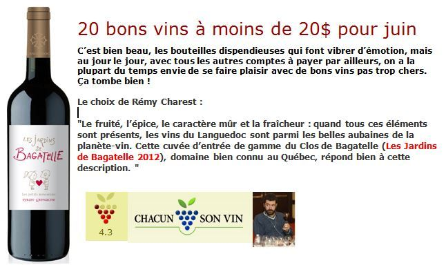Les Jardins de Bagatelle vu par Rémy Charest de Chacun son vin