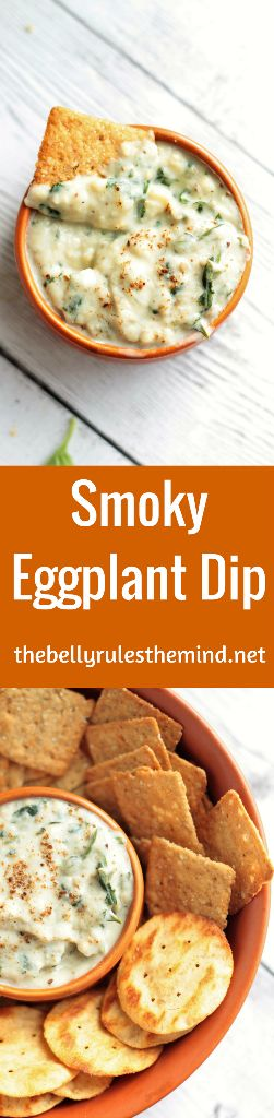 Smoky Eggplant Dip made by charring the whole eggplant. Quick, easy and makes a perfect snack or party dip. Pair them with GOODTHiNS - The Wheat One- Ancient Grains (my favorite), available at @Krogerco and you won't be disappointed at all |www.thebellyrulesthemind.net @bellyrulesdmind #ad #TrySomeTHINGood