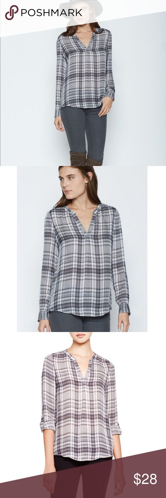 Joie 'Coralle' Plaid Woven Silk Top EUC The soft neutral palette of this silk popover blouse makes it a versatile piece that will layer easily or shine on its own. Slips on over head. V-neck. Roll sleeves with button tabs. Back yoke with inverted pleat. Curved hem. 100% silk. Dry clean. By Joie; imported. No trades, offers welcome👍☺️ Joie Tops