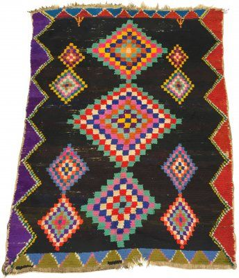 Marokkanische Berber Teppich Boucherouite 185 x 145 cm