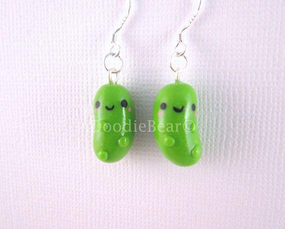 Pickles Kawaii Cute Polymer Clay Charm Earrings - Sterling Silver - Stainless Steel - Green