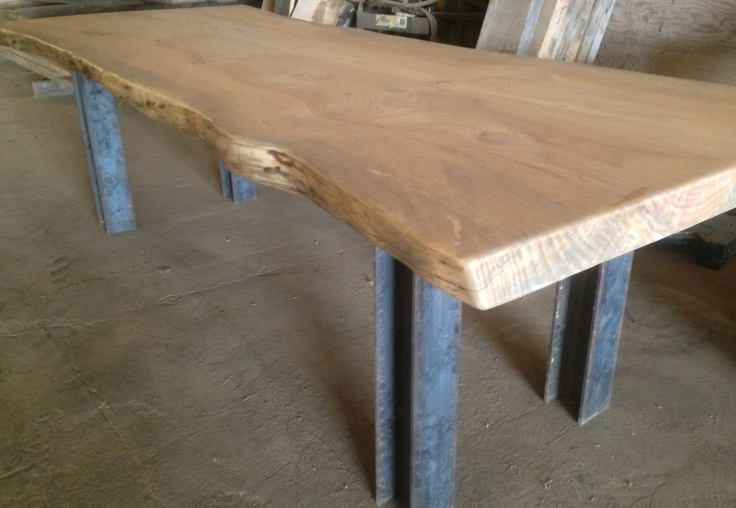 Live Edge Wood Slab Table I Beam Legs Reclaimed Wood