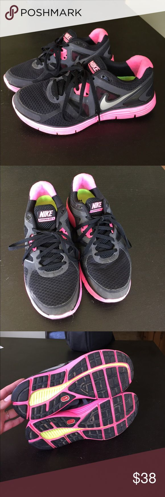 Black & Pink NIKE Lunarglide 3 Very good condition Nike Shoes Athletic Shoes