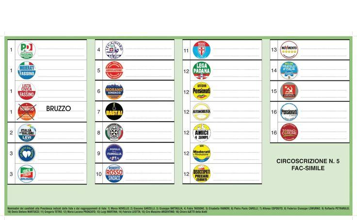 Fac simile della scheda! Vota e fai votare Bruzzo. Elezioni 5 giugno. Lista progetto Torino sinistra per la città.