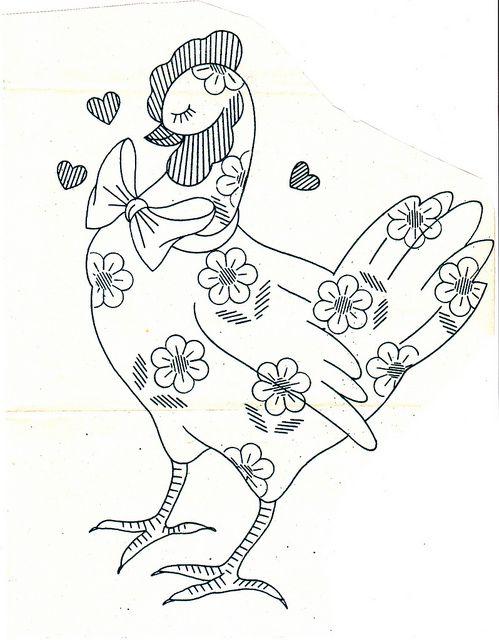daisy chicken pattern  by kittykill, via Flickr
