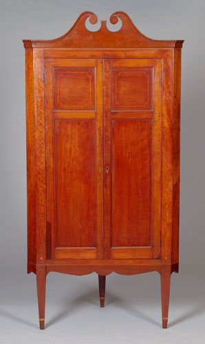 Kentucky Inlaid Hepplewhite Corner Cupboard,   Cowanu0027s Auctions