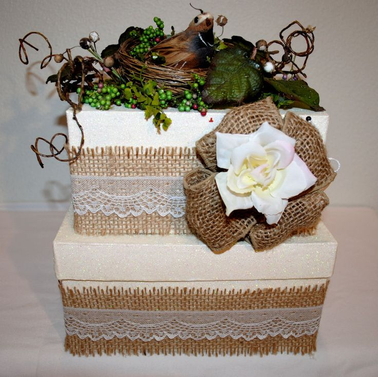 """Burlap and Lace Wedding Card Box, """"A Bit of Nature"""", Bird in a Nest Wedding Reception Box, Burlap Wedding Box, Casual, Keepsake Box, by TheBouncingFrogs on Etsy"""