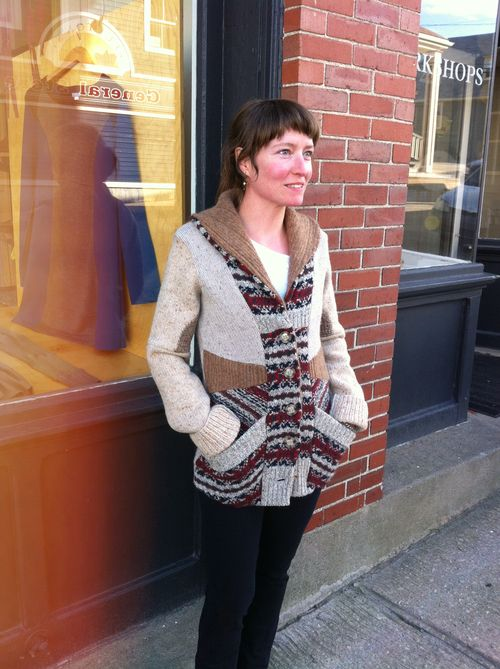 Get cozy in this fisherman style sweater, made by Preloved from 4 reclaimed sweaters making each one of a kind. With long sleeves, angled pockets, and luxurious shawl collar, the Miss Ellie Cardigan ($144) is a true classic.   Wear it as your outer layer on crisp fall days, this sweater is equally at home when you're cozied up by the fire playing board games with friends.