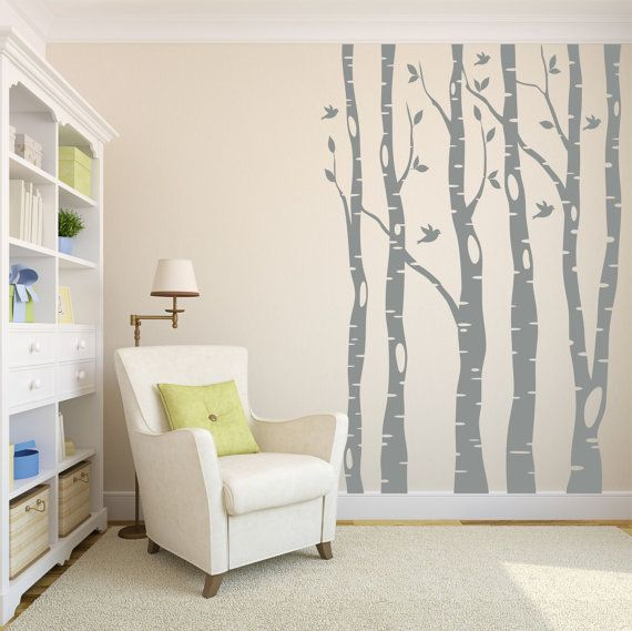 Tree Wall Decal   Birch Tree Decal   Wall Decal Nursery   Kids Tree Wall Art    Large Tree Decals