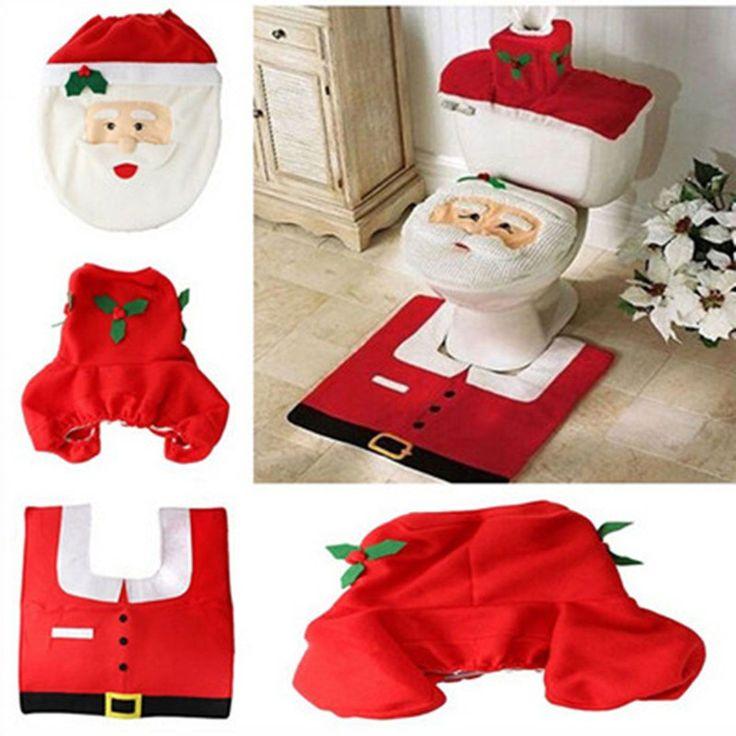 Latest 3Pc/Set Christmas Santa Claus Bathroom Toilet Seats Cover Christmas Decoration