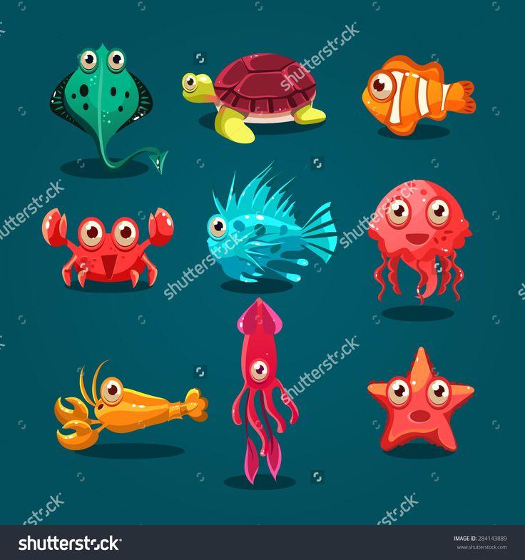 Cute Sea Life Creatures Cartoon Animals Set With Fish Octopus Jellyfish Isolated Vector Illustration - 284143889 : Shutterstock