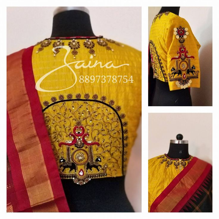 Stunning yellow color hingh neck designer blouse with chaandbali design hand embroidery thread and bead work on neck line. Peacock and horse design hand embroidery thread and kasu work on sleeves and back of blouse.   25 February 2018
