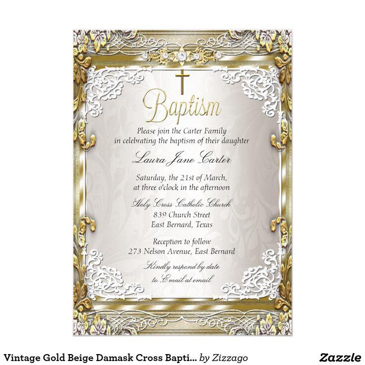 Vintage Gold Beige Damask Cross Baptism Photo 5x7 Paper Invitation Card