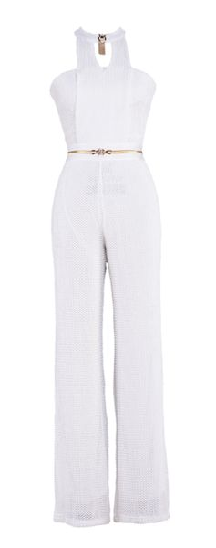 'Artesia' Mesh Jumpsuit - White