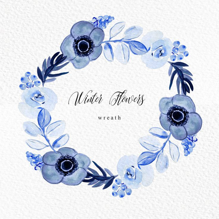 Watercolor Wreath Flower Wreath Watercolor Wreath Clipart Blue