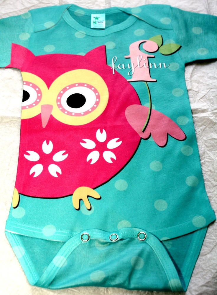 one of my favorite gifts for the mommy.. a personalized owl onesie purchased from etsy