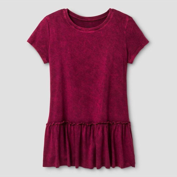 Girls' Knit Peplum T-Shirt Art Class - Burgundy Zest XL, Girl's