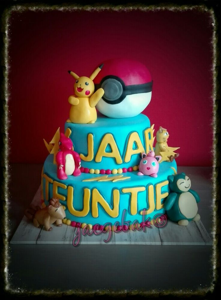 Pokémon cake With Pikachu, snorlex and Lots more