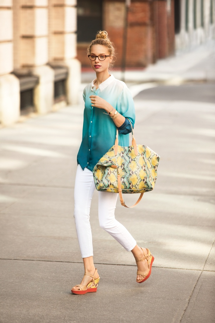 Ombre + white skinnies + colorful python + fab Payle high wedges, #love