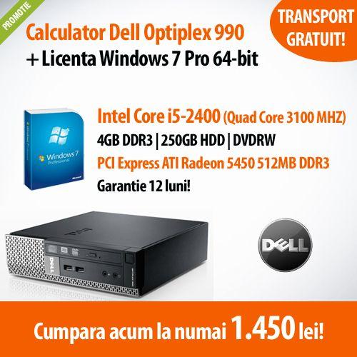 Ai nevoie de un calculator performant, la un pret accesibil? Alege Dell Optiplex 990, cu procesor Intel Core i5-2400 si licenta Windows 7 Pro, la numai 1.450 lei!