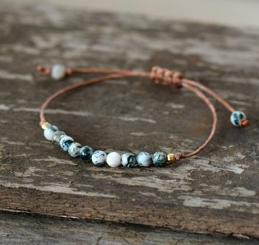 Adjustable bracelet made of natural tree agate stone #agate #gems #gemstone #cr …   – Perlen Schmuck