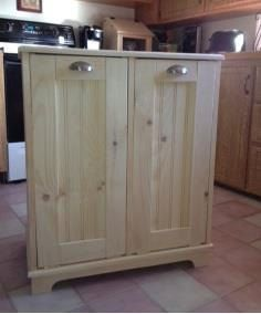 Solid Pine Garbage Can, Trash Bin, Recycling Bin, Storage Bin. $260.00, via Etsy.