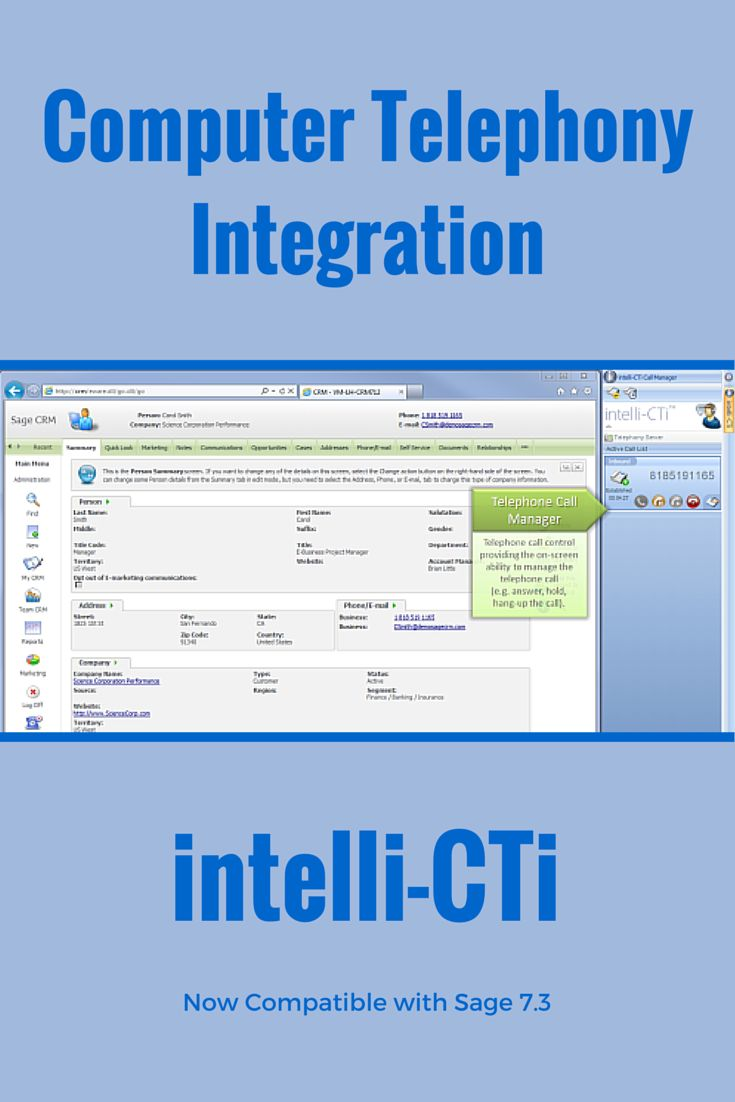 intelli-CTi integrates your #CRM and telephony systems providing #CTI TAPI integration for your #SageCRM solutions. intelli-CTi will increase the profitability and efficiency of your operation whilst enhancing customer satisfaction and bottom line profitability. #CRM