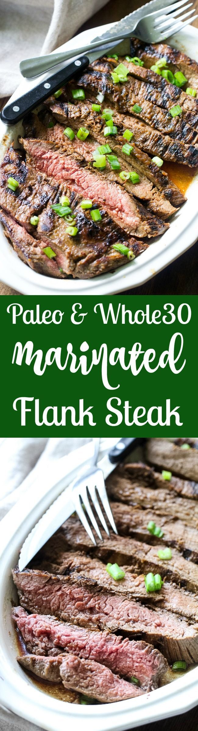 This Paleo and Whole30 grilled marinated flank steak will become your go-to recipe to top salads or serve with your favorite grilled veggies and potatoes. The marinade comes together in a blender and can be boiled into a sauce to serve with the steak. Gluten free, refined sugar free, soy free, dairy free.