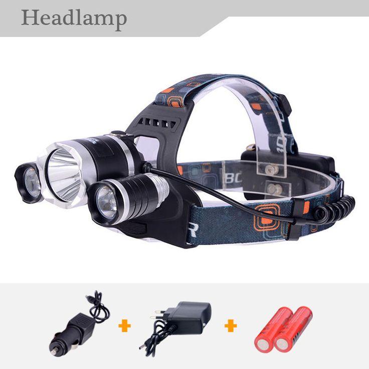 2017 Baru 18650 Baterai + Lampu T6Headlamp 6000 Lumens 3 x Cree XM-T6 + 2R5 LED camping Headlamp Headlight